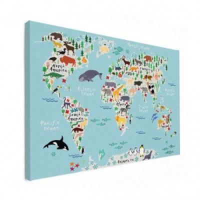 Wereldkaart Ons Dierenrijk En De Continenten - Houten plaat 80x60