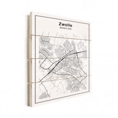 Stadskaart Zwolle - Horizontale planken hout 50x70