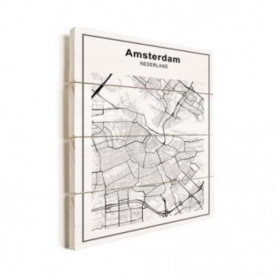Stadskaart Amsterdam - Horizontale planken hout 50x70
