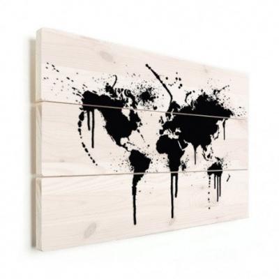 Wereldkaart Artistieke Spots - Horizontale planken hout 120x80
