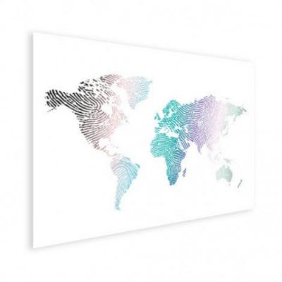 Wereldkaart Fingerprints Gekleurd - Houten plaat 120x80
