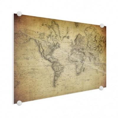 Wereldkaart Back In The Day - Plexiglas 120x80