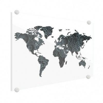 Wereldkaart Circelpatroon Diagonale Lijnen Blauwtint - Plexiglas 120x90