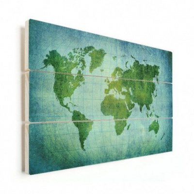 Wereldkaart Vervaagd Groen - Horizontale planken hout 90x60