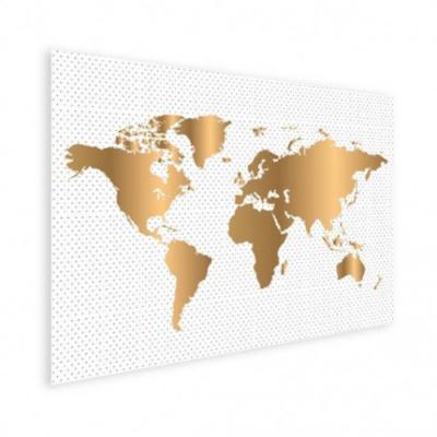 Wereldkaart Golden Dots - Houten plaat 80x60