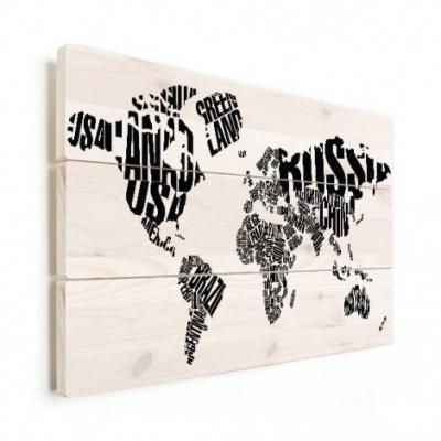Wereldkaart Landmassa In Letters Zwart - Verticale planken hout 90x60