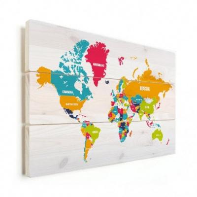 Wereldkaart Grote Landnamen - Verticale planken hout 90x60