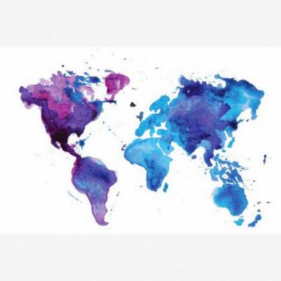 Wereldkaart Paarstint Aquarel - Houten plaat 60x40