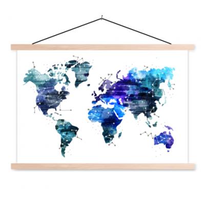 Wereldkaart Artistiek Nachtkleuren - Schoolplaat 60x40