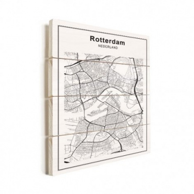 Stadskaart Rotterdam - Horizontale planken hout 60x80