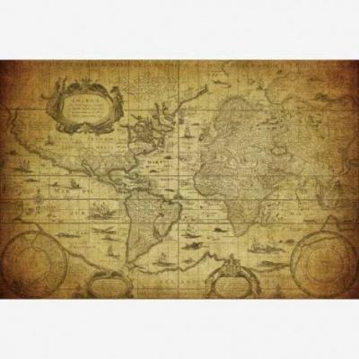 Wereldkaart Oude Zeekaart - Poster 90x60