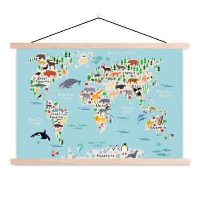 Wereldkaart Ons Dierenrijk En De Continenten - Schoolplaat 90x60