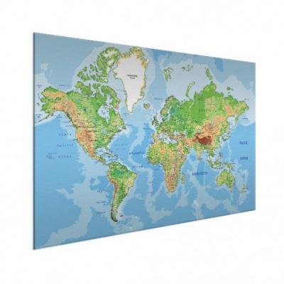 Wereldkaart Aardrijkskundig Origineel - Wit aluminium 120x80