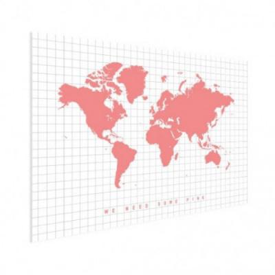 Wereldkaart We Need Some Pink - Houten plaat 40x30