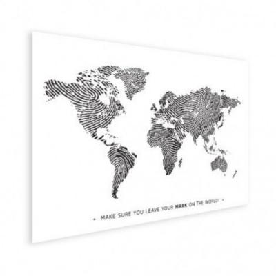 Wereldkaart Fingerprints Zwart Met Tekst - Houten plaat 40x30