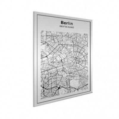 Stadskaart Berlijn - Geborsteld aluminium 50x70