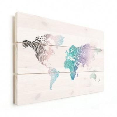 Wereldkaart Fingerprints Gekleurd - Horizontale planken hout 80x60
