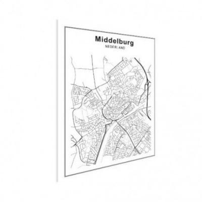 Stadskaart Middelburg - Houten Plaat 50x70