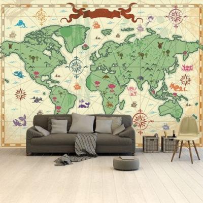 Wereldkaart Van Vroeger - Airtex behang 265x400
