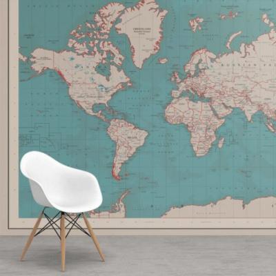 Wereldkaart Aardrijkskundig Rode Grenzen - Airtex behang 265x350