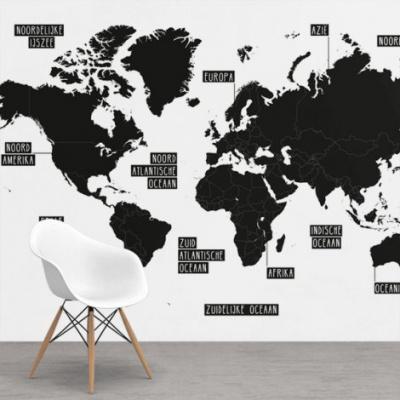 Wereldkaart Zwart Gebiednamen - Airtex behang 265x350