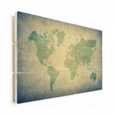 Wereldkaart Vervaagd Groentint - Horizontale planken hout 40x30