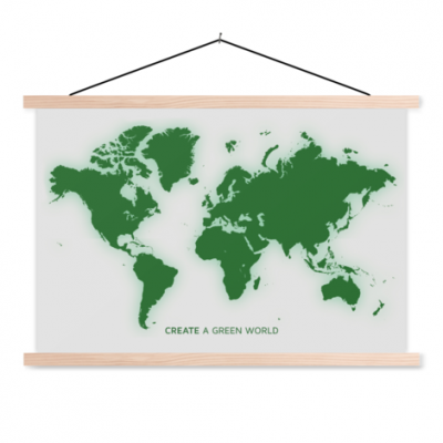 Wereldkaart Create A Green World - Schoolplaat 90x60