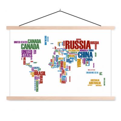 Wereldkaart Continenten In Tekst Kleur - Schoolplaat 60x40