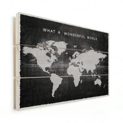 Wereldkaart What A Wonderful World Zwart - Horizontale planken hout 80x60