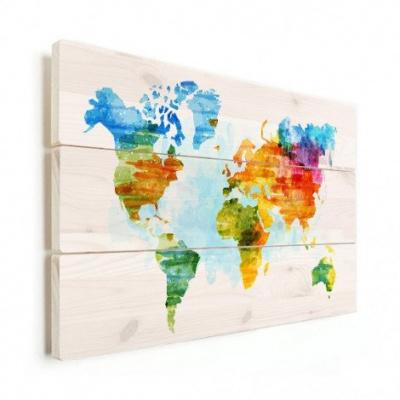 Wereldkaart Ecoline Kleuren - Verticale planken hout 120x80