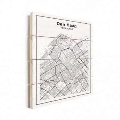 Stadskaart Den Haag - Horizontale planken hout 50x70