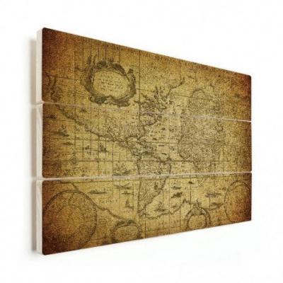 Wereldkaart Oude Zeekaart - Horizontale planken hout 90x60