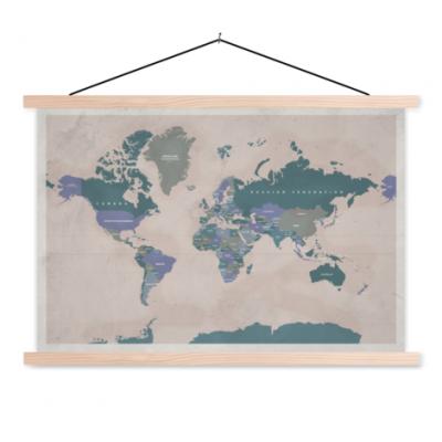 Wereldkaart Aardrijkskundig Groentinten Diagonale Strepen - Schoolplaat 90x60