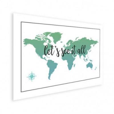 Wereldkaart Let's See It All Groen - Houten plaat 80x60