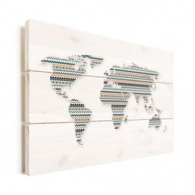 Wereldkaart Zuid-Amerikaans Patroon - Verticale planken hout 120x80