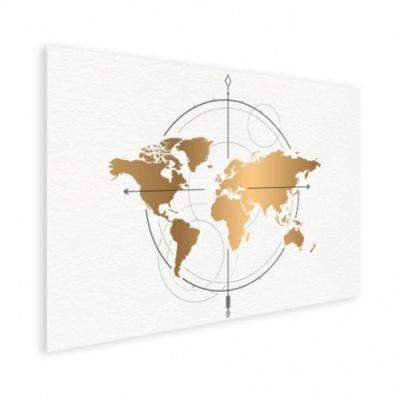 Wereldkaart Golden Compass - Poster 150x100