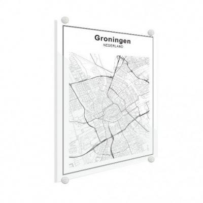Stadskaart Groningen - Plexiglas 50x70