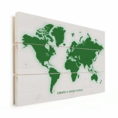 Wereldkaart Create A Green World - Verticale planken hout 40x30