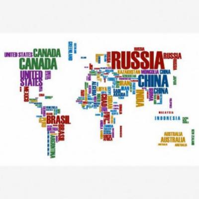Wereldkaart Continenten In Tekst Kleur - Poster 40x60