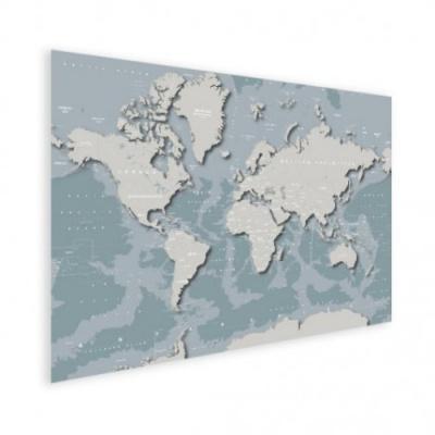 Wereldkaart Perspectief Blauwtint - Houten plaat 80x60