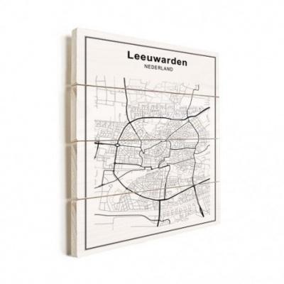 Stadskaart Leeuwarden - Verticale planken hout 60x80