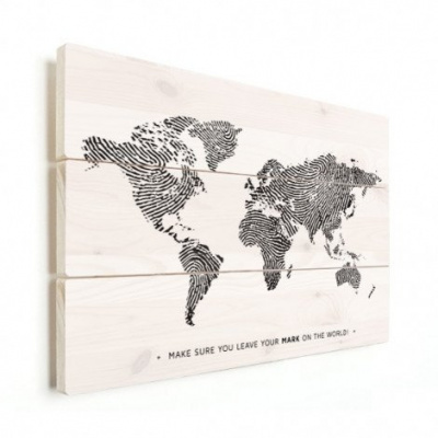 Wereldkaart Fingerprints Zwart Met Tekst - Verticale planken hout 80x60