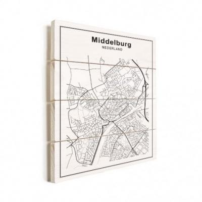 Stadskaart Middelburg - Verticale planken hout 50x70