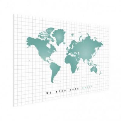 Wereldkaart We Need Some Green - Houten plaat 80x60