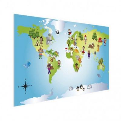 Wereldkaart Onze Bewoners Prent - Houten plaat 120x80
