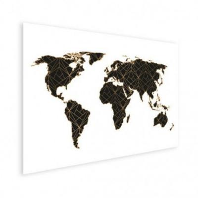 Wereldkaart Geometrische Gouden Lijnen Zwart - Houten plaat 80x60