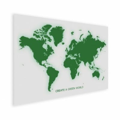 Wereldkaart Create A Green World - Houten plaat 80x60