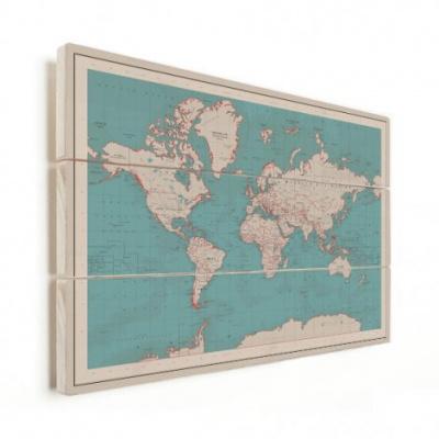 Wereldkaart Aardrijkskundig Rode Grenzen - Verticale planken hout 80x60