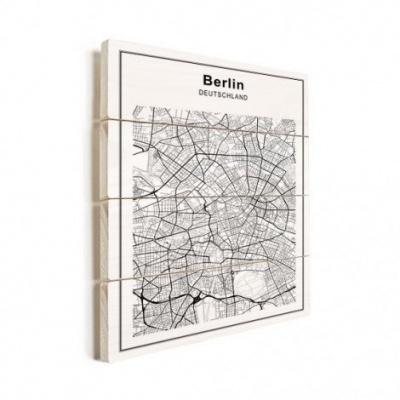 Stadskaart Berlijn - Verticale planken hout 60x80