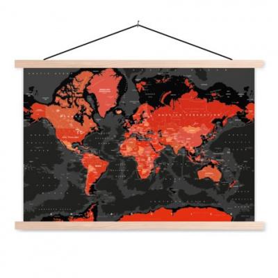 Wereldkaart Rood Land Zwart Water Apocalypse - Schoolplaat 60x40